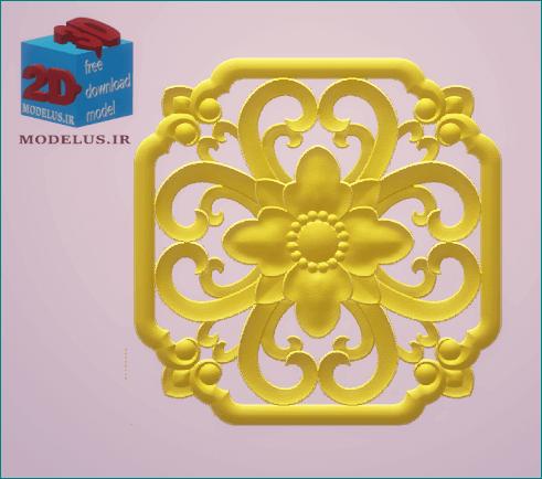 مدل سه بعدی تک گل مربعی
