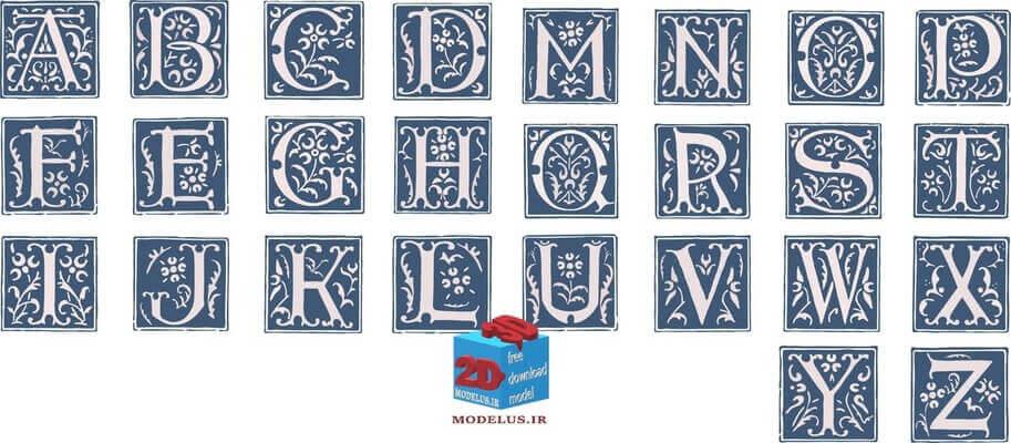 مجموعه وکتور حروف تزئینی انگلیسی