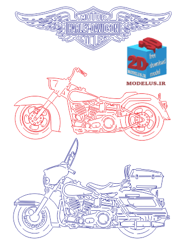 وکتور آماده برش و حکاکی موتور سیکلت dxf , cdr