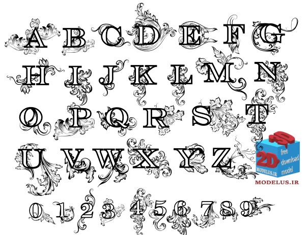 دانلود رایگان وکتور حروف انگلیسی بسیار زیبا مخصوص حکاکی