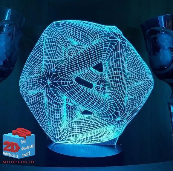 دانلود مدل حکاکی شکل هندسی چراغ شب