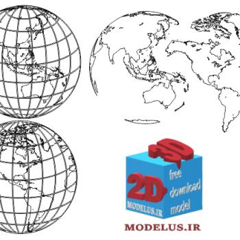 دانلود فایل وکتور نقشه ی کره زمین برای حکاکی