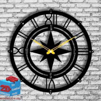 دانلود طرح برش ساعت مدل قطب نما